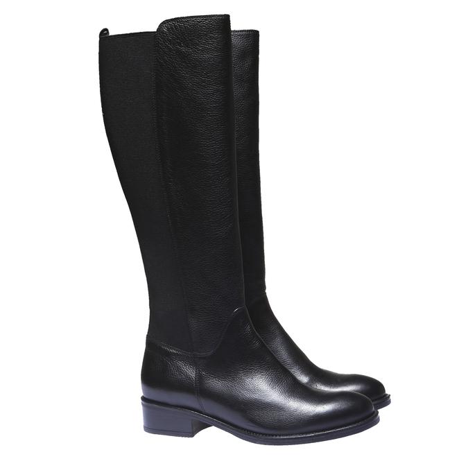 Kožené kozačky na nízkém podpatku bata, černá, 596-6101 - 26