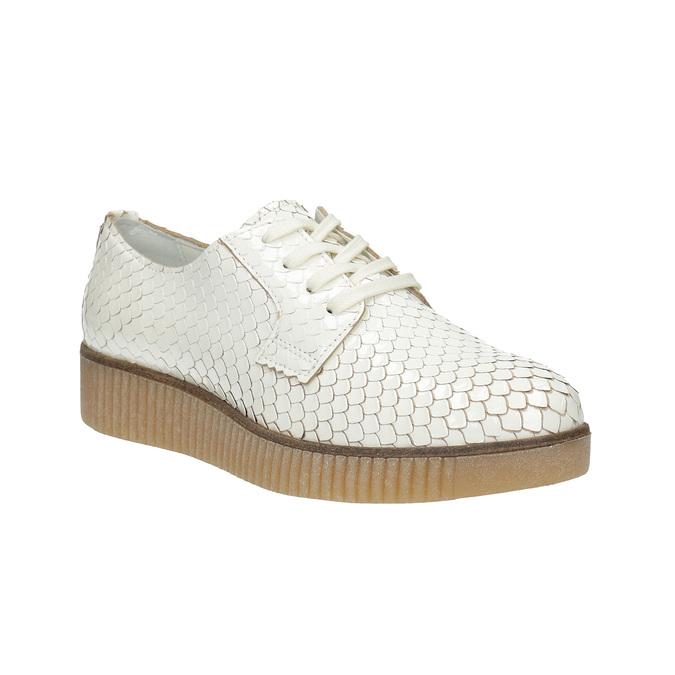 Světlé kožené polobotky bata, bílá, 526-1613 - 13