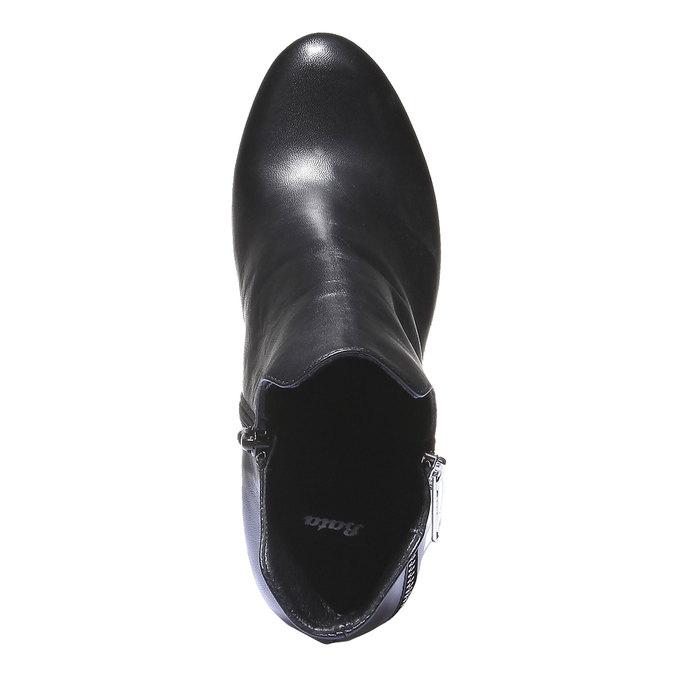 Kožené kotníkové kozačky na podpatku bata, černá, 794-6601 - 19