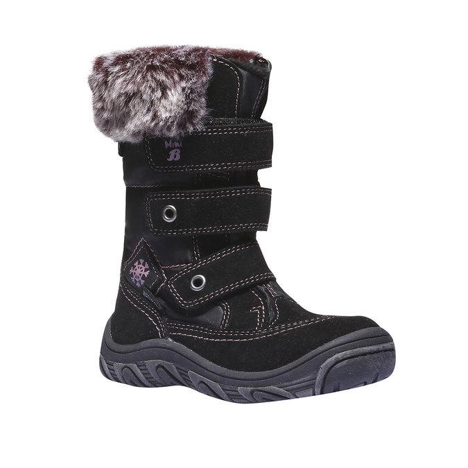 Kožené dětské sněhule s kožíškem mini-b, černá, 393-6100 - 13