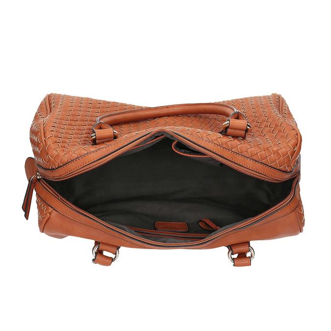Bowling kabelka s propleteným vzorem bata, hnědá, 961-3629 - 15