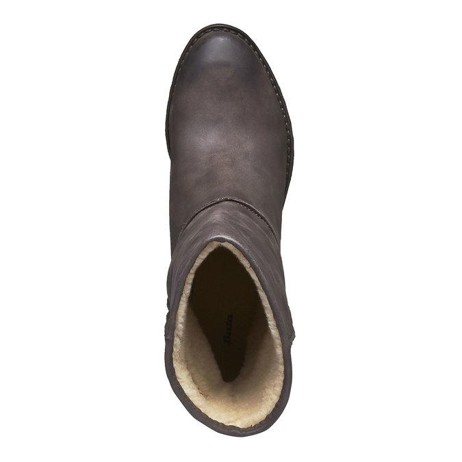 Kožené kozačky s kožíškem bata, černá, 696-6109 - 19