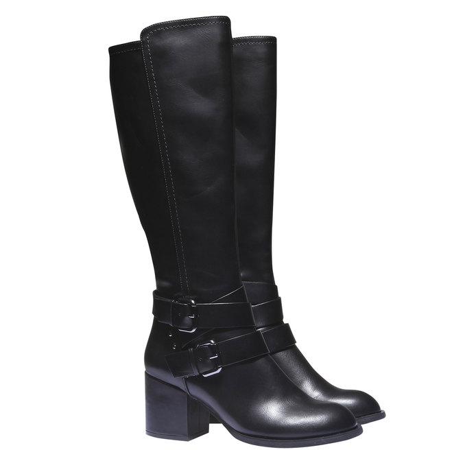 Kozačky s přezkami bata, černá, 791-6156 - 26