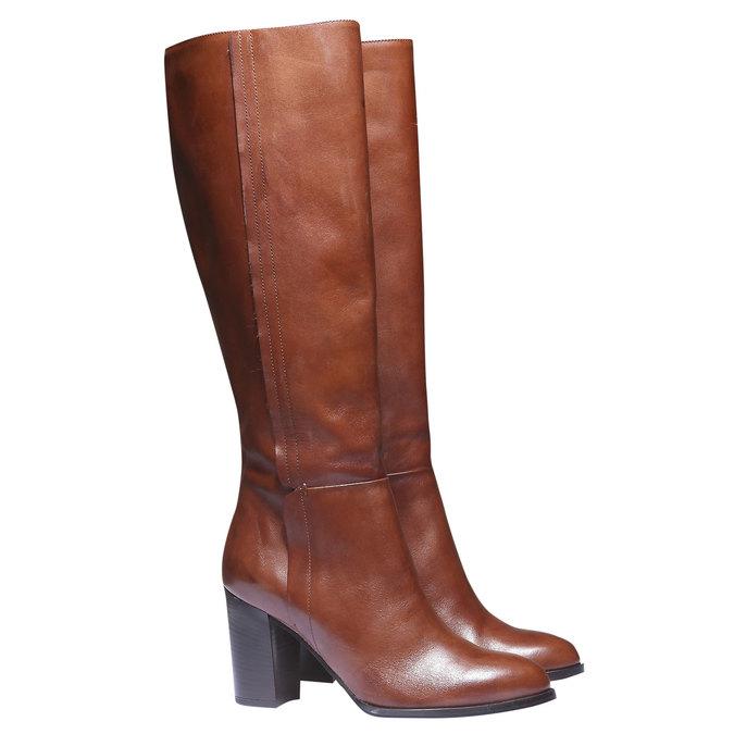 Kožené kozačky na podpatku bata, hnědá, 794-3603 - 26