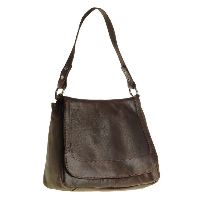 Kožená kabelka s klopou bata, hnědá, 964-4133 - 13