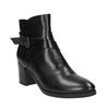 Kožená kotníčková obuv na podpatku bata, černá, 796-6609 - 13