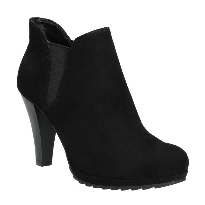 Dámská kotníčková obuv na podpatku s pružnými boky bata, černá, 799-6601 - 13
