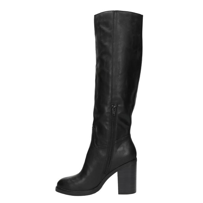 Dámské kozačky na silnějším podpatku bata, černá, 791-6612 - 19