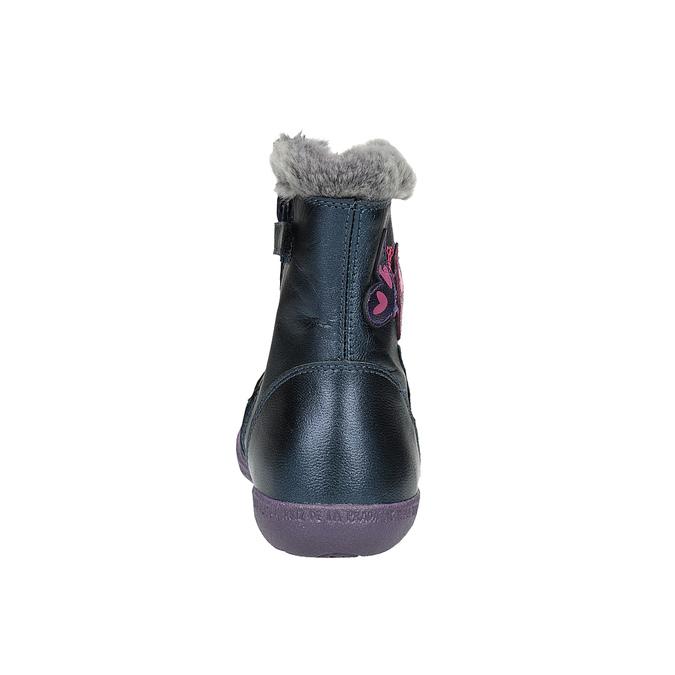 Kožená kotníčková obuv dívčí, modrá, 294-9001 - 17