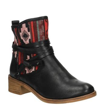 Kotníčková obuv s Etno vzorem bata, černá, 599-6604 - 13