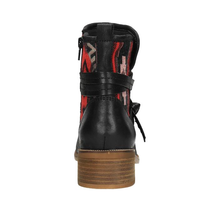 Kotníčková obuv s Etno vzorem bata, černá, 599-6604 - 17