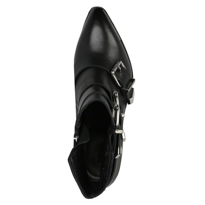 Kožená kotníčková obuv s přezkami diesel, černá, 724-6425 - 19