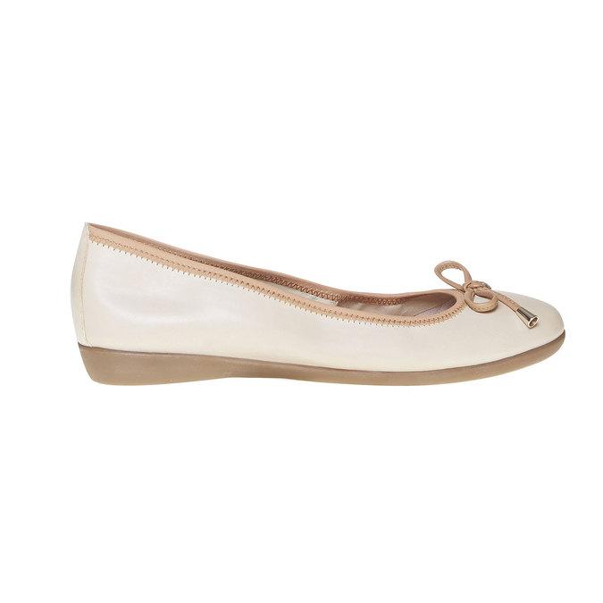Dámské kožené baleríny bata, béžová, 524-8485 - 15