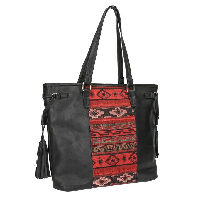 Kabelka s barevným vzorem a střapci bata, černá, 961-6669 - 13
