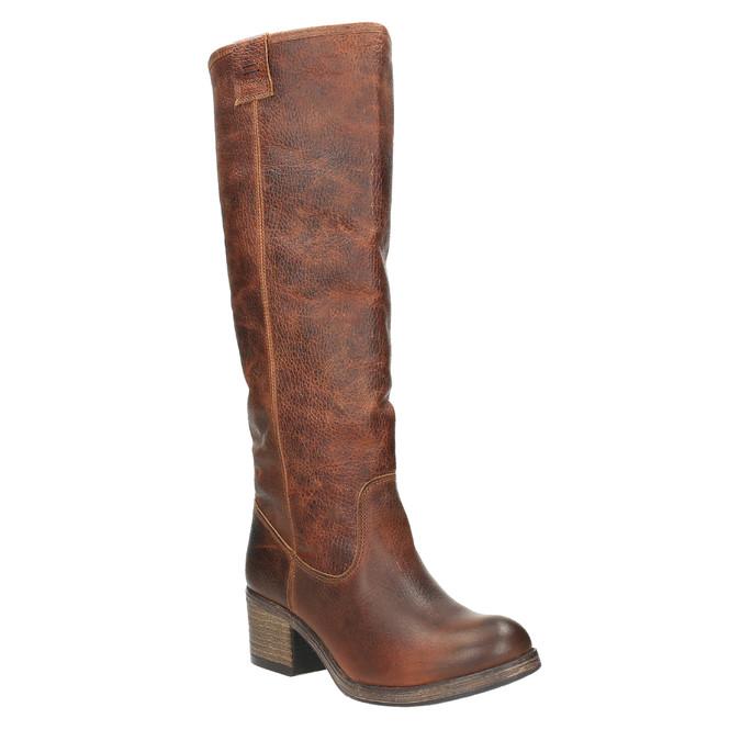 Vysoké kožené kozačky ve Western stylu bata, hnědá, 696-3608 - 13