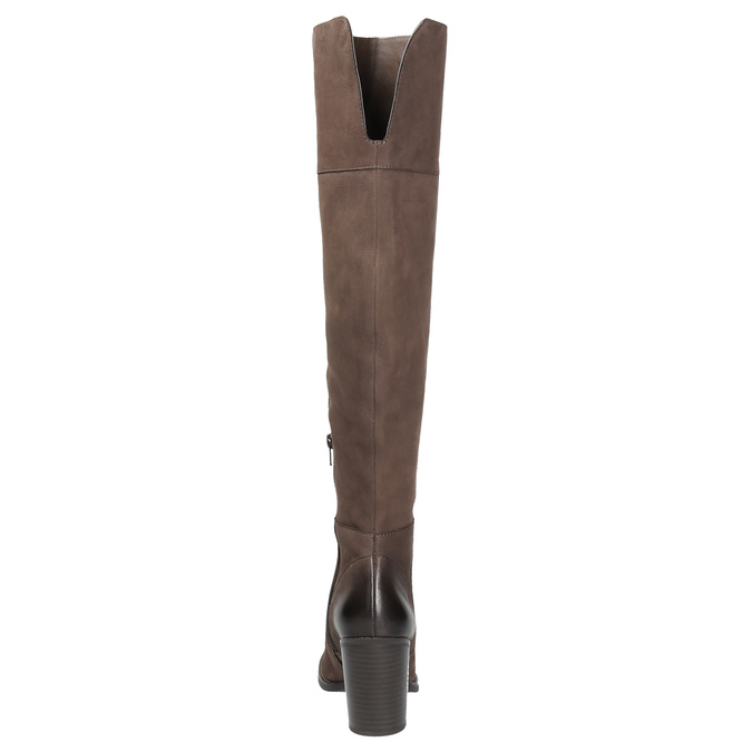Kožené kozačky nad kolena na masivním podpatku bata, hnědá, 696-4611 - 17