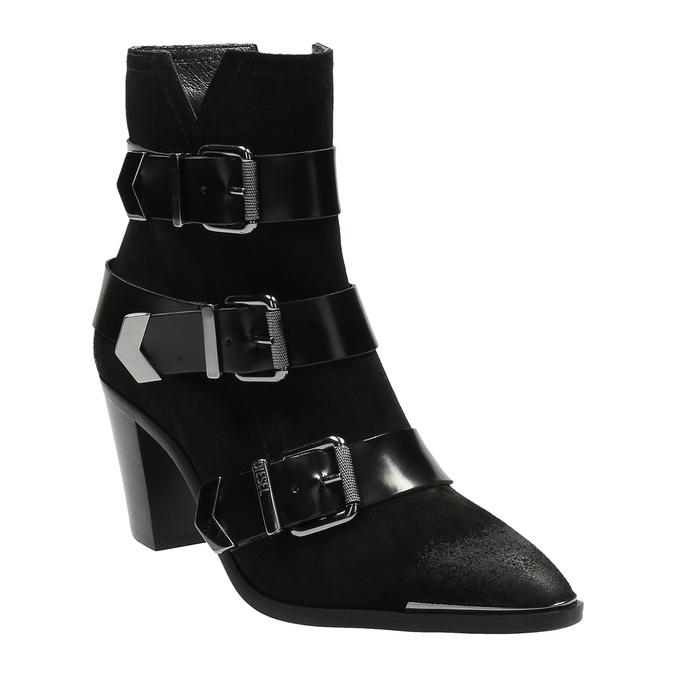 Kožená kotníčková obuv s přezkami diesel, černá, 723-6421 - 13