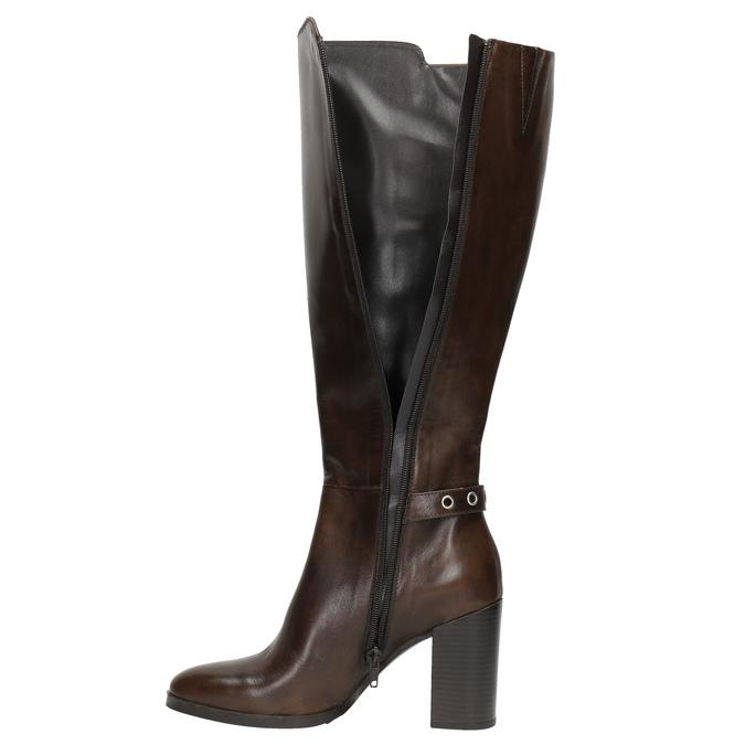 Kožené kozačky na podpatku bata, hnědá, 794-4637 - 19