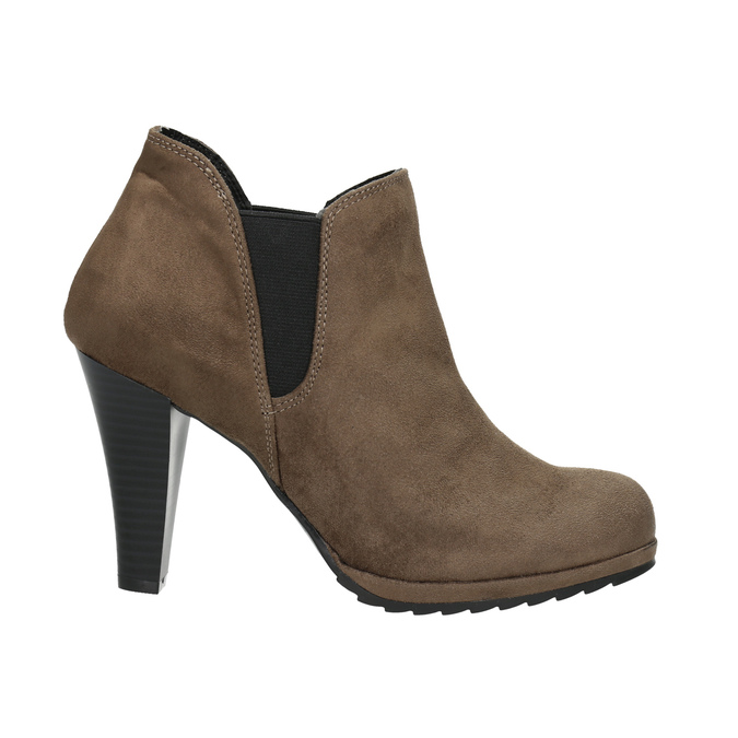 Kotníčkové kozačky na podpatku s pružnými boky bata, béžová, 799-2601 - 15
