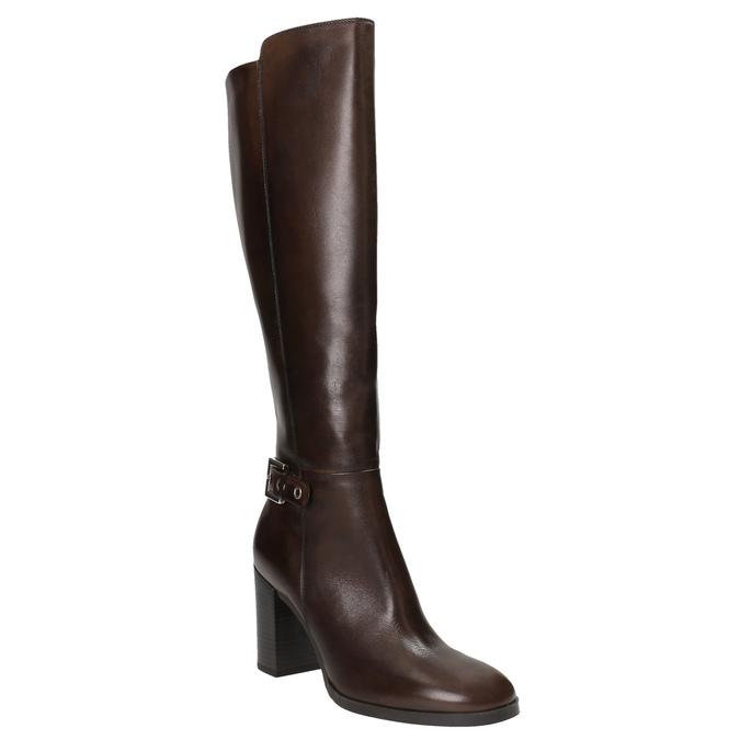Kožené kozačky na podpatku bata, hnědá, 794-4637 - 13