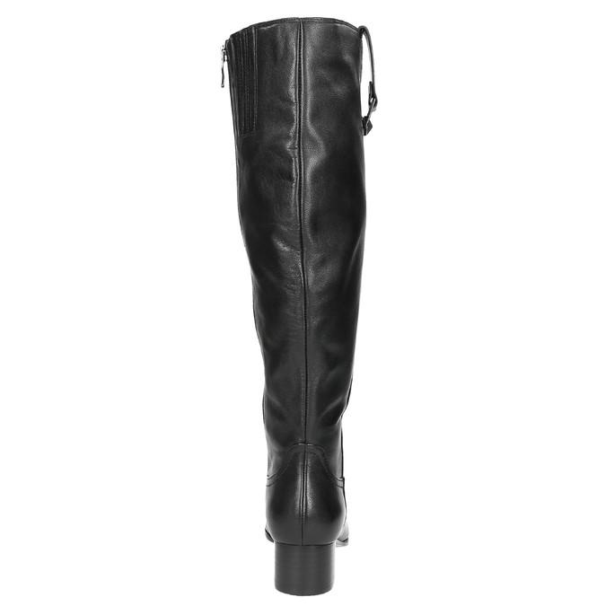 Dámské kožené kozačky na nízkém podpatku bata, černá, 694-6631 - 17