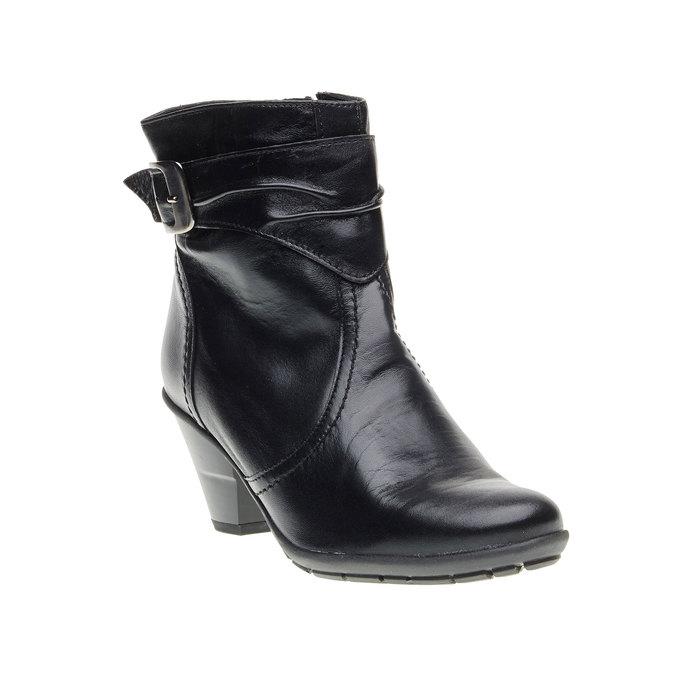 Kožená kotníčková obuv na zkoseném podpatku bata, černá, 694-6130 - 13