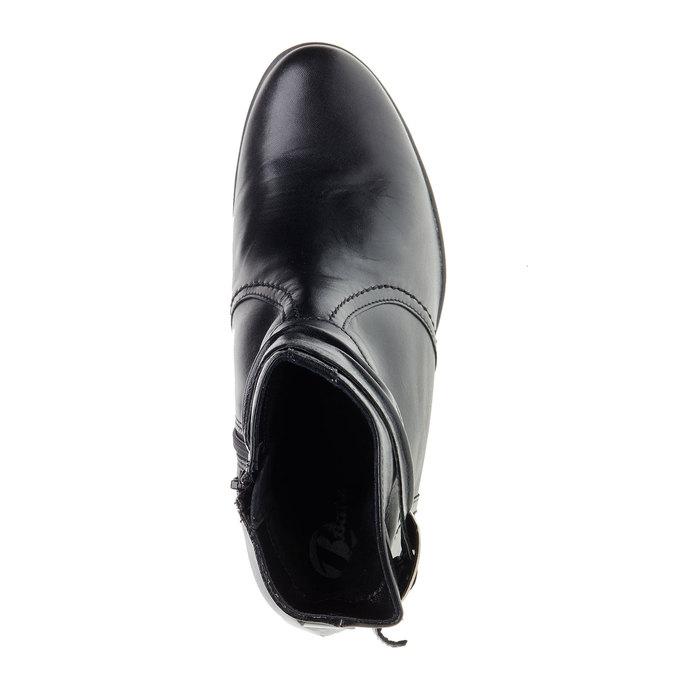 Kožená kotníčková obuv na zkoseném podpatku bata, černá, 694-6130 - 19
