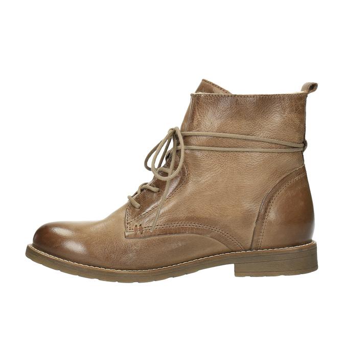 Kožená kotníčková obuv se zateplením bata, hnědá, 594-4610 - 26