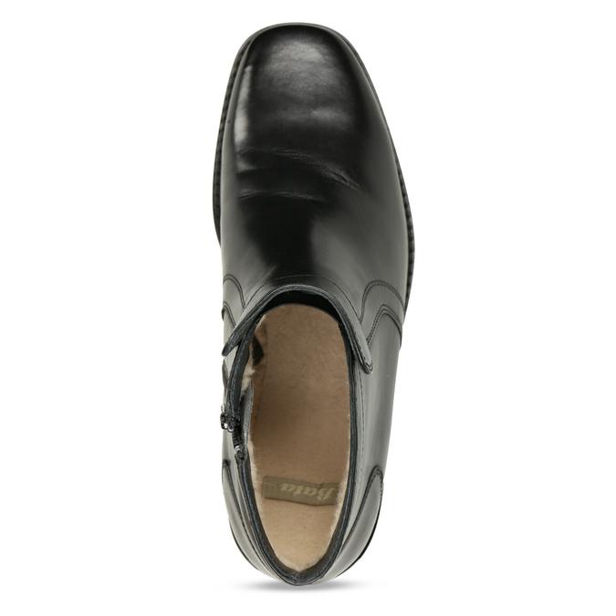 Kožená kotníčková obuv se zateplením bata, černá, 894-6641 - 17