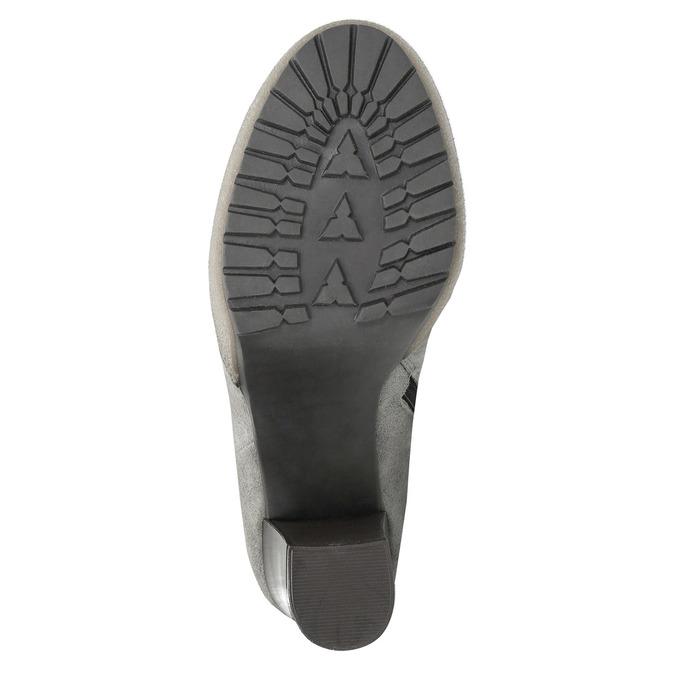 Kožená kotníčková obuv s pravým kožíškem manas, šedá, 793-2603 - 26