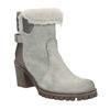 Kožená kotníčková obuv s kožíškem manas, šedá, 696-2602 - 13