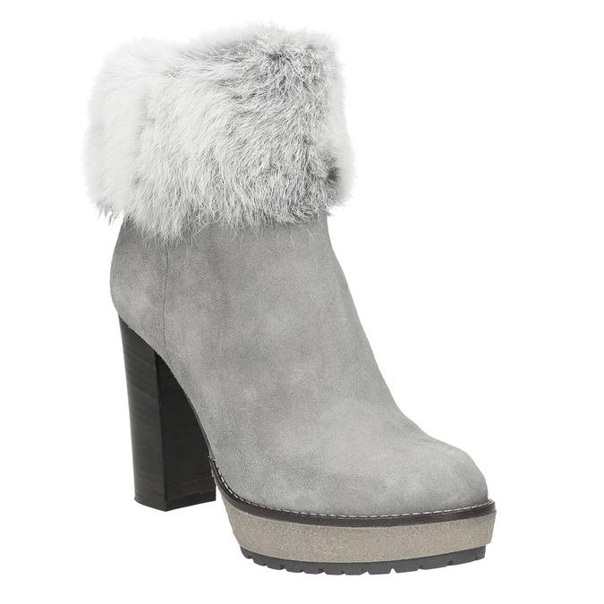 Kožená kotníčková obuv s pravým kožíškem manas, šedá, 793-2603 - 13