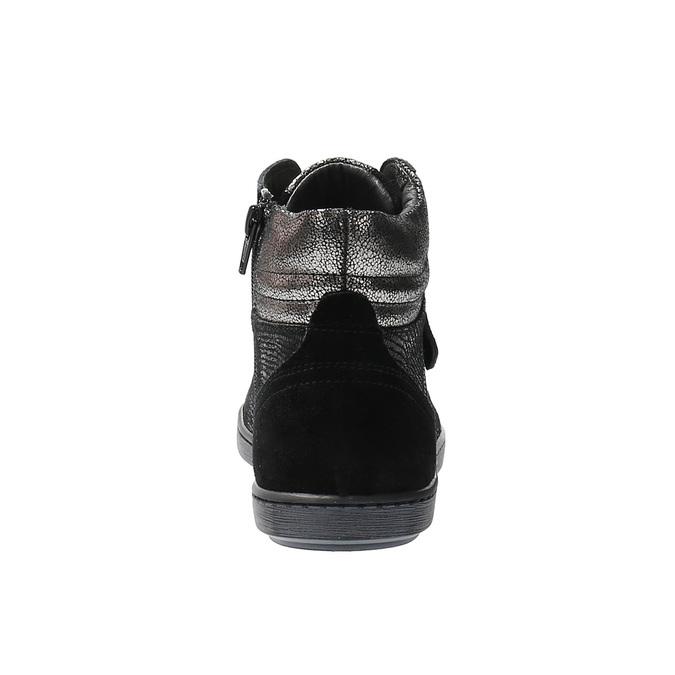 Kožené kotníčkové tenisky se stříbrnými odlesky bata, černá, 596-6613 - 17