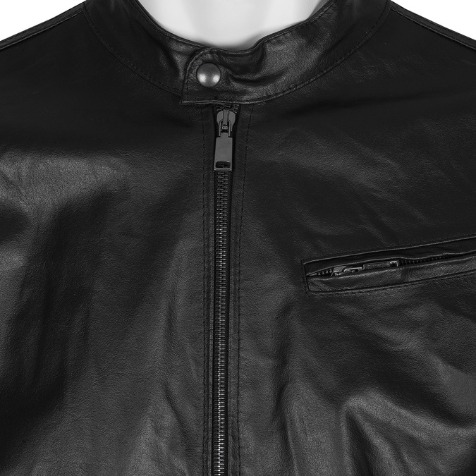 Pánská kožená bunda se stylovým prošitím bata, černá, 974-6142 - 16