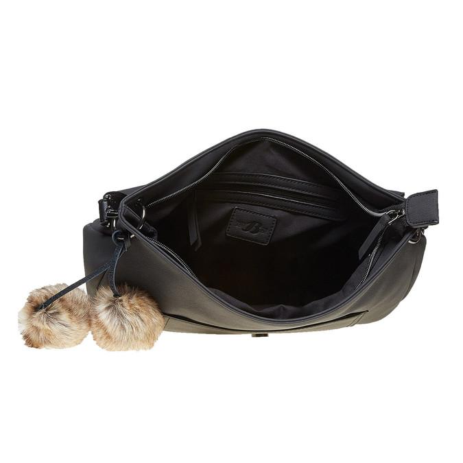 Dámská kabelka s Pom Pom ozdobou bata, černá, 961-6244 - 15