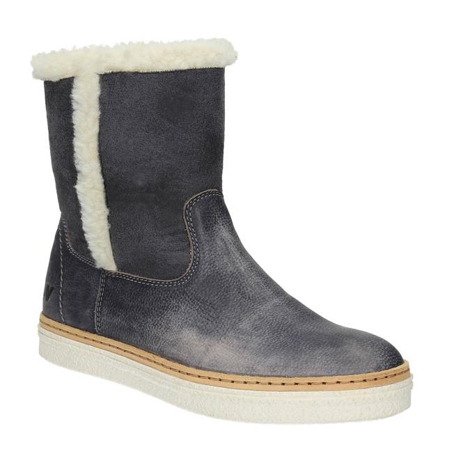 Kožená zimní obuv s kožíškem weinbrenner, modrá, 596-6628 - 13