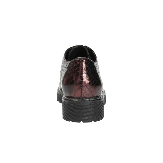 Metalické kožené polobotky na výrazné podešvi bata, červená, 526-5607 - 17