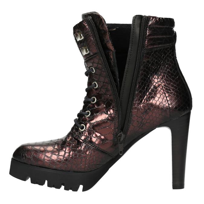 Kožená kotníčková obuv na podpatku bata, červená, 796-5638 - 19