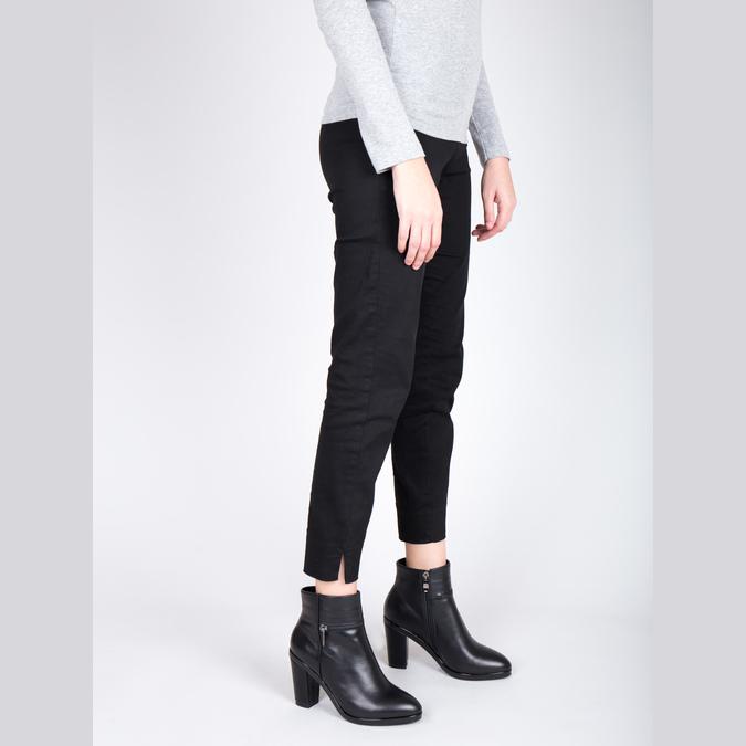 Kožená kotníčková obuv na podpatku bata, černá, 694-6632 - 18
