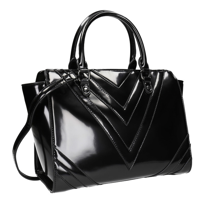 Lakovaná kabelka s prošitím bata, černá, 961-6708 - 13