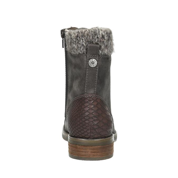 Dámská zimní obuv šněrovací bata, šedá, 591-6606 - 17