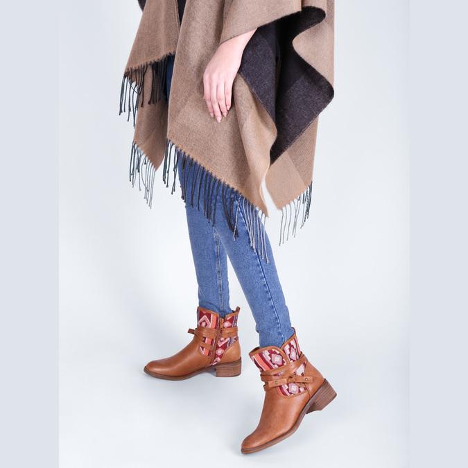 Kotníčkové kozačky v Etno stylu bata, hnědá, 599-4604 - 18