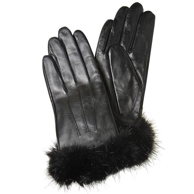 Kožené dámské rukavice bata, černá, 904-6126 - 13