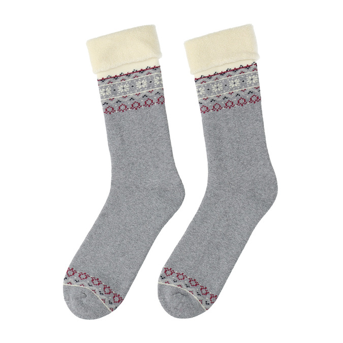 Teplé dámské ponožky bata, šedá, 919-2418 - 26