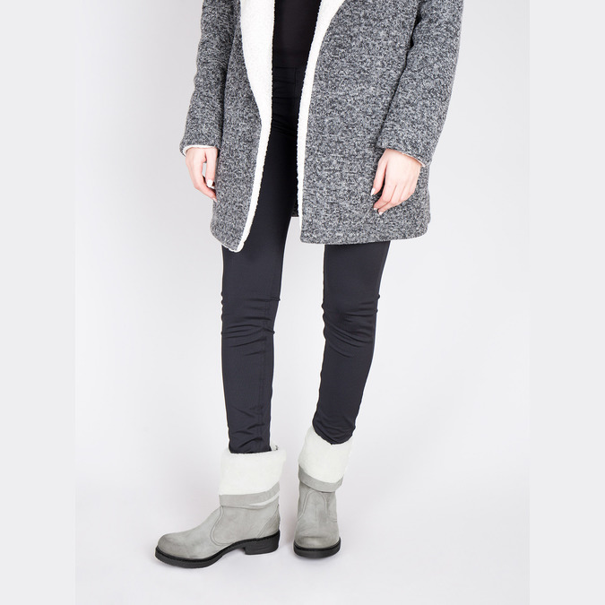 Kožená zimní obuv s kožíškem manas, šedá, 596-2601 - 18