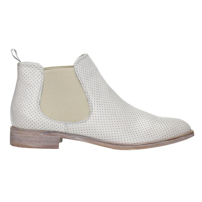 Kožené Chelsea boty s perforací bata, bílá, 596-1651 - 15
