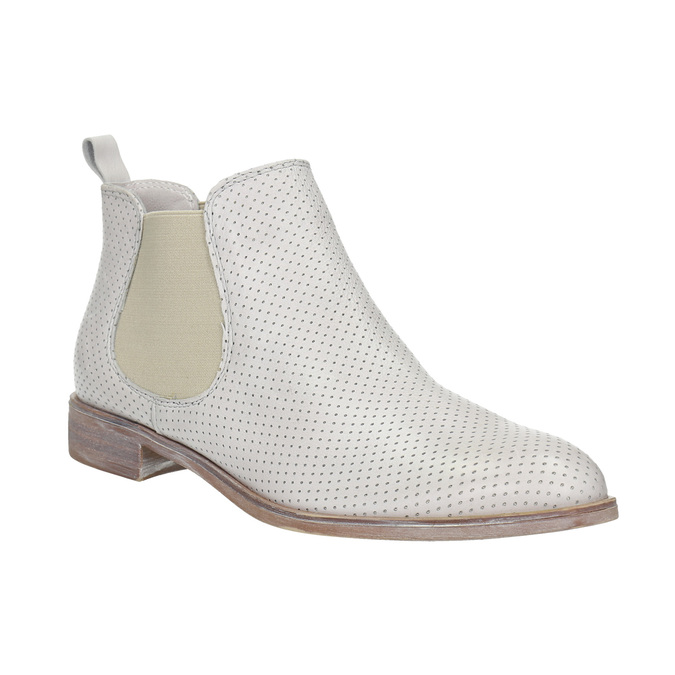 Kožené Chelsea boty s perforací bata, bílá, 596-1651 - 13