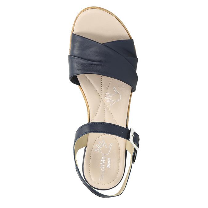 Kožené sandály na nízkém podpatku bata-touch-me, modrá, 666-9203 - 26