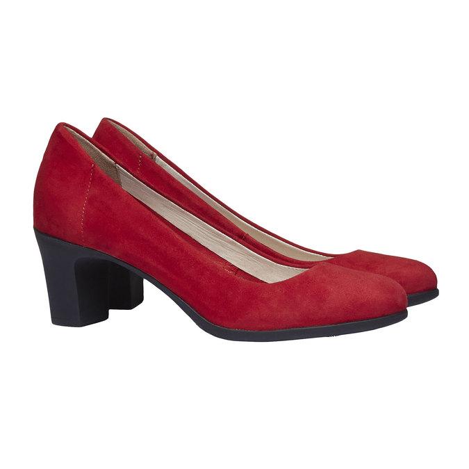 Červené kožené lodičky flexible, červená, 623-5393 - 26
