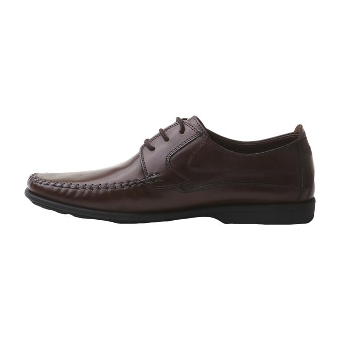 Kožená obuv na šněrování bata, hnědá, 854-4836 - 15